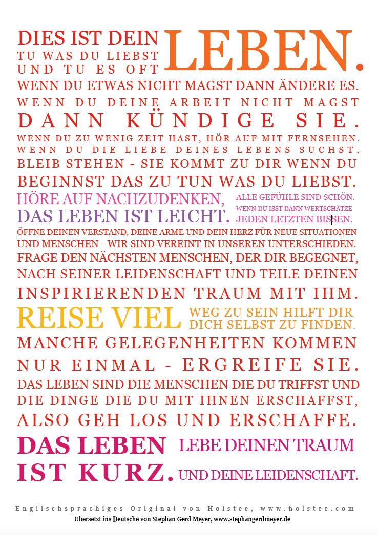 dies ist dein leben das holstee manifesto auf deutsch stephan gerd meyer. Black Bedroom Furniture Sets. Home Design Ideas